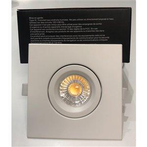Plafonier blanc encastré de 4 po, carré, lumière réglable, 60 watt de TorontoLed (Paquet de 4)