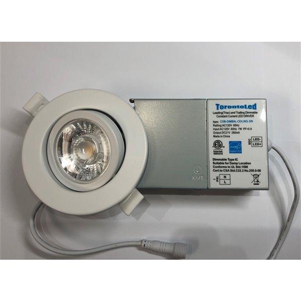 Plafonier blanc encastré de 3 po, rond, lumière réglable, 50 watt de TorontoLed (Paquet de 4)