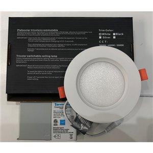 Plafonier encastré de 4 po, blanc, rond, lumière réglable, 60 watt de TorontoLed (Paquet de 4)