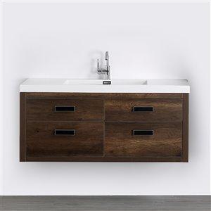 Meuble-lavabo mural simple brun par Streamline de 48 po avec comptoir blanc lustré
