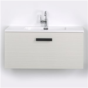 Meuble-lavabo mural simple gris cendré par Streamline de 40 po avec comptoir blanc et 1 large tiroir