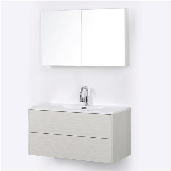 Meuble-lavabo mural simple gris cendré par Streamline de 40 po avec comptoir blanc lustré (1 miroir inclus)