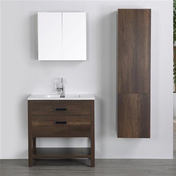 Meuble-lavabo simple brun autoportant par Streamline de 32 po avec comptoir blanc lustré, miroir et lingerie