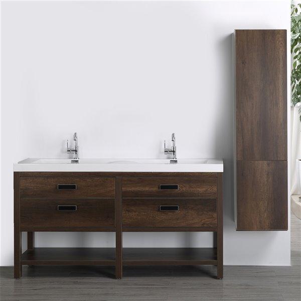 Meuble-lavabo double brun autoportant par Streamline de 63 po avec comptoir blanc lustré et 1 lingerie