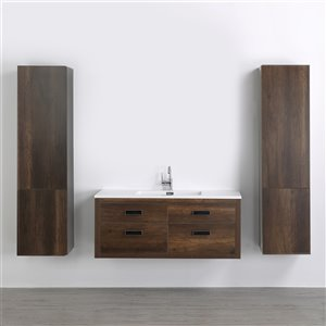 Meuble-lavabo mural simple brun par Streamline de 48 po avec comptoir blanc lustré et 2 lingeries