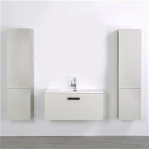 Meuble-lavabo mural simple gris cendré par Streamline de 40 po avec comptoir blanc et 2 lingeries