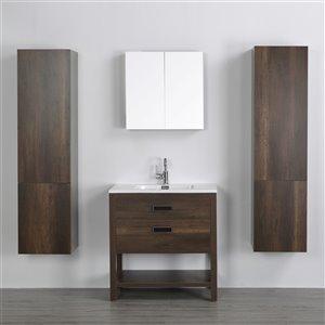 Meuble-lavabo simple brun autoportant par Streamline de 32 po avec comptoir blanc lustré, miroir et 2 lingeries