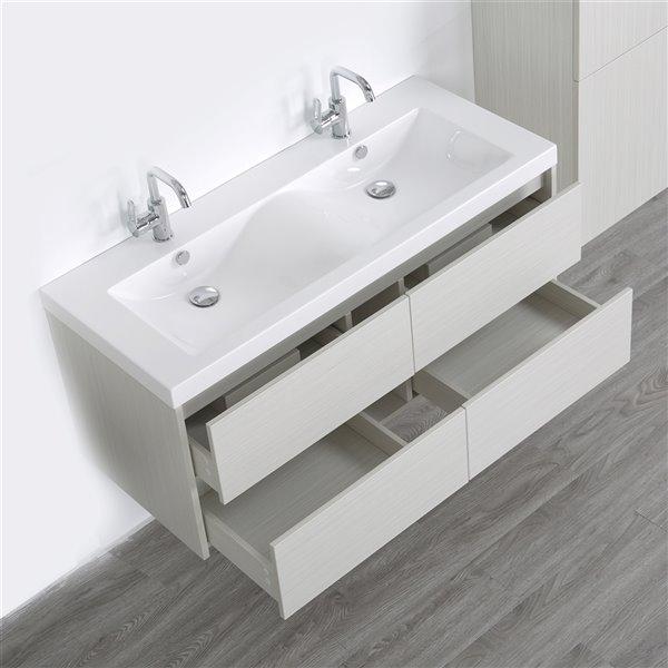 Meuble-lavabo mural simple gris cendré par Streamline de 48 po avec comptoir blanc lustré et 1 lingerie