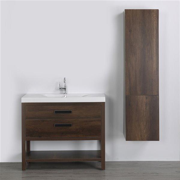 Meuble-lavabo simple brun autoportant par Streamline de 40 po avec comptoir blanc lustré et lingerie autoportante