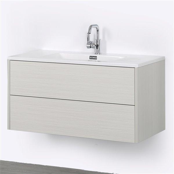 Streamline 40 In Ash Grey Single Sink Wall Mount Bathroom Vanity With Glossy White Top Rona