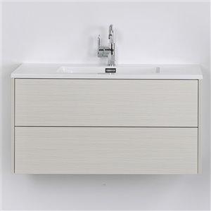 Meuble-lavabo mural/flottant simple gris cendré par Streamline de 40 po avec comptoir blanc lustré