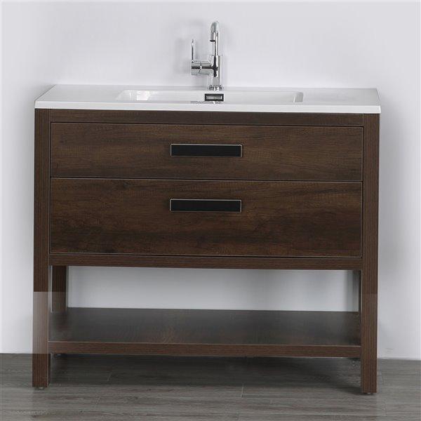 Meuble-lavabo simple, brun autoportant par Streamline de 40 po avec comptoir blanc lustré et 2 tiroirs