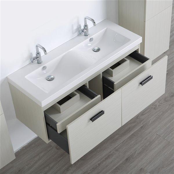 Meuble-lavabo mural simple gris cendré  par Streamline de 48 po avec comptoir blanc lustré et 2 lingeries murales