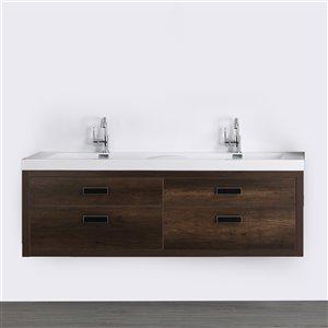 Meuble-lavabo mural double brun par Streamline de 63 po avec comptoir blanc lustré