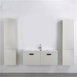 Meuble-lavabo mural simple gris cendré  par Streamline de 48 po avec comptoir blanc lustré, 2 tiroirs et 2 lingeries