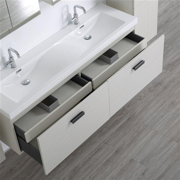 Meuble-lavabo mural double gris cendré  par Streamline de 63 po avec comptoir blanc lustré, 2 miroirs et 2 lingeries