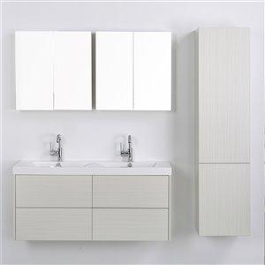 Meuble-lavabo mural simple gris cendré par Streamline de 48 po avec comptoir blanc lustré, 2 miroirs et 1 lingerie