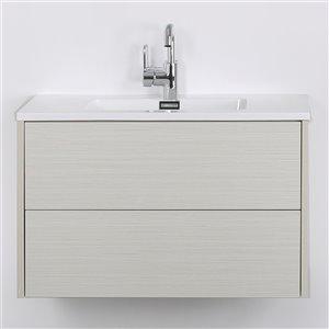 Meuble-lavabo mural/flottant simple gris cendré par Streamline de 32 po avec comptoir blanc lustré