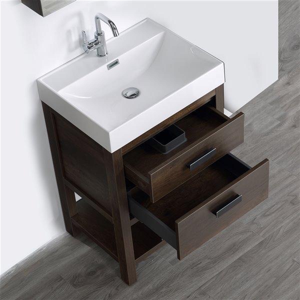 Meuble-lavabo simple brun autoportant par Streamline de 24 po avec comptoir blanc lustré (miroir inclus)