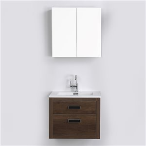 Streamline 24-in Brown Single Sink Floating Bathroom Vanity with Glossy White Top (Mirror Included)