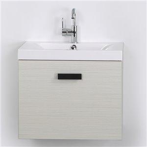 Meuble-lavabo mural simple gris cendré  par Streamline de 24 po avec comptoir blanc lustré et 1 large tiroir de rangement