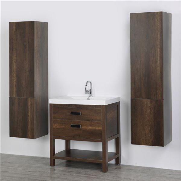Meuble-lavabo simple brun autoportant par Streamline de 32 po avec comptoir blanc lustré et 2 lingeries autoportantes