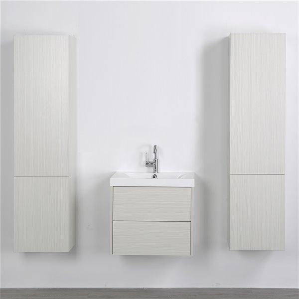 Meuble-lavabo mural simple gris cendré par Streamline de 24 po avec comptoir blanc lustré et 2 lingeries