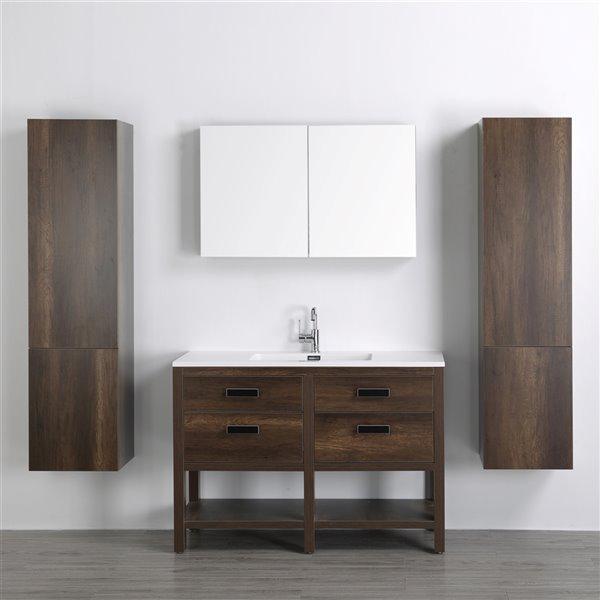 Meuble-lavabo simple brun autoportant par Streamline de 48 po avec comptoir blanc lustré, miroir et 2 lingeries autoportantes