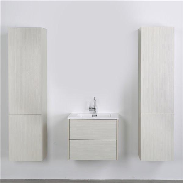Meuble-lavabo mural/flottant simple gris cendré par Streamline de 24 po avec comptoir blanc lustré et 2 lingeries