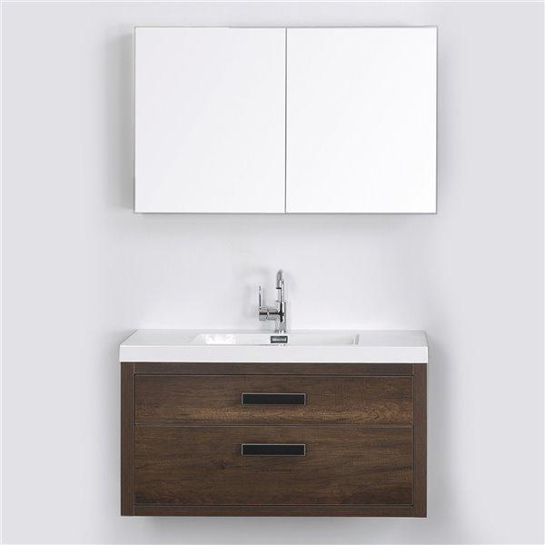 Meuble-lavabo mural simple brun par Streamline de 40 po avec comptoir blanc lustré (1 miroir inclus)