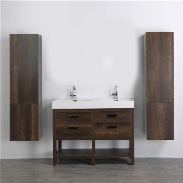 Meuble-lavabo double brun autoportant par Streamline de 48 po avec comptoir blanc lustré et 2 lingeries