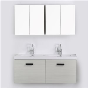 Streamline 48-in Ash Grey Single Sink Floating Bathroom Vanity with Glossy White Top and 2 Mirrors
