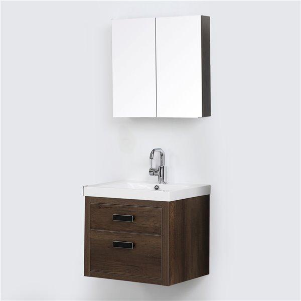 Meuble-lavabo mural simple brun par Streamline de 24 po avec comptoir blanc lustré et 1 miroir