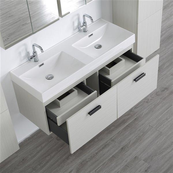 Meuble-lavabo mural double gris cendré  par Streamline de 48 po avec comptoir blanc lustré, 2 miroirs et 2 lingeries