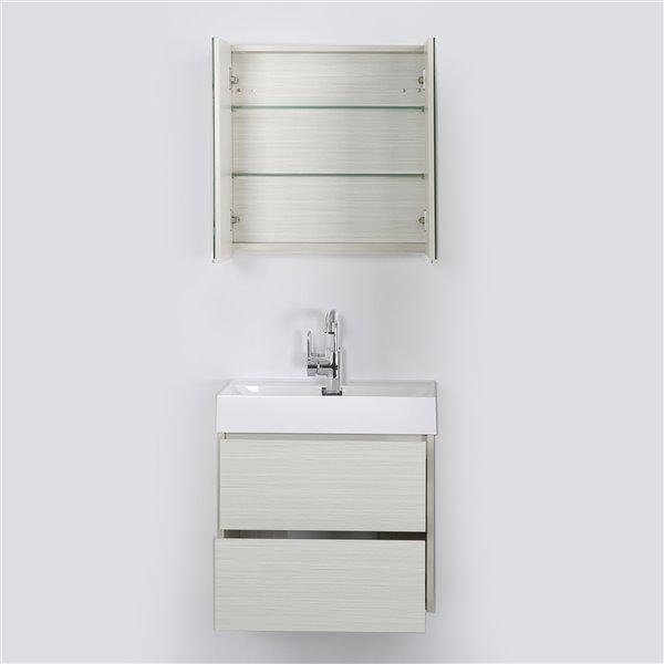 Meuble-lavabo mural simple gris cendré par Streamline de 24 po avec comptoir blanc et 1 miroir inclus