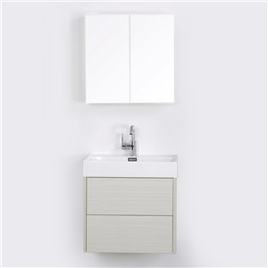 Streamline 24-in Ash Grey Single Sink Floating Bathroom Vanity with Glossy White Top and 1 Mirror