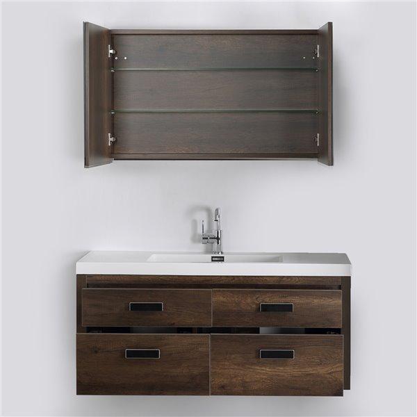 Meuble-lavabo mural simple brun par Streamline de 48 po avec comptoir blanc lustré et 1 miroir