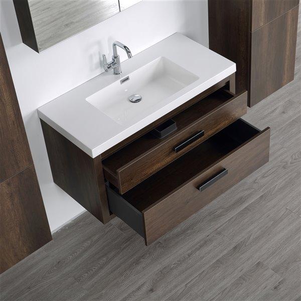 Meuble-lavabo mural simple brun par Streamline de 40 po avec comptoir blanc lustré, miroir et 2 armoires