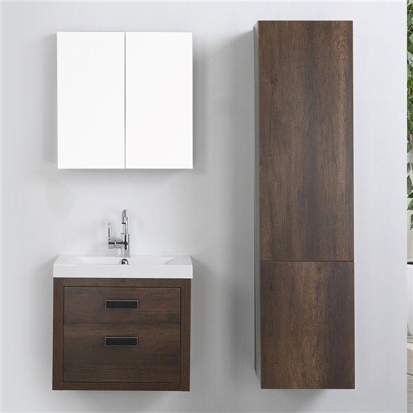Meuble-lavabo mural simple brun par Streamline de 24 po avec comptoir blanc lustré, miroir et 1 lingerie murale
