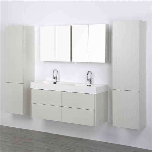 Meuble-lavabo mural simple gris cendré par Streamline de 48 po avec comptoir blanc lustré, 1 miroir et 2 lingeries