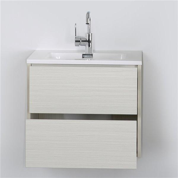 Meuble-lavabo mural simple gris cendré par Streamline de 24 po avec comptoir blanc lustré