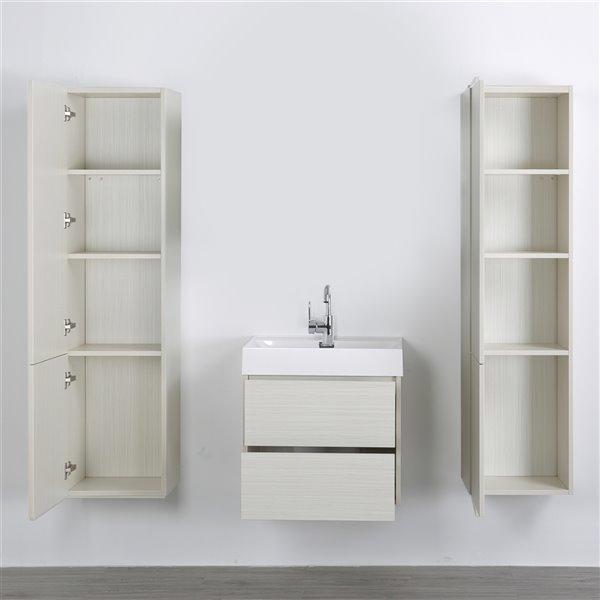 Meuble-lavabo mural simple gris cendré  par Streamline de 24 po avec comptoir blanc lustré et 2 armoires murales
