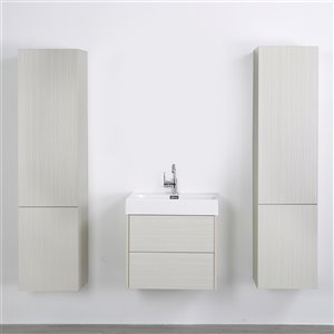 Streamline 24-in Ash Grey Single Sink Floating Bathroom Vanity with Glossy White Top and 2 Linen Cabinets