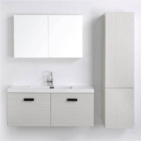 Meuble-lavabo mural simple gris cendré  par Streamline de 48 po avec comptoir blanc lustré, 1 miroir et 1 lingerie murale