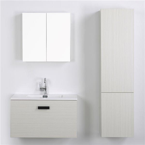 Meuble-lavabo mural simple gris cendré  par Streamline de 32 po avec comptoir blanc lustré, miroir et 1 lingerie