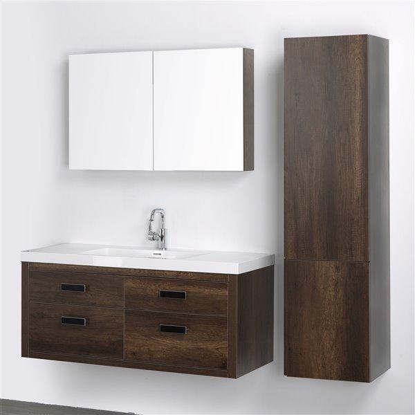 Meuble-lavabo mural simple brun par Streamline de 48 po avec comptoir blanc lustré, miroir et 1 armoire