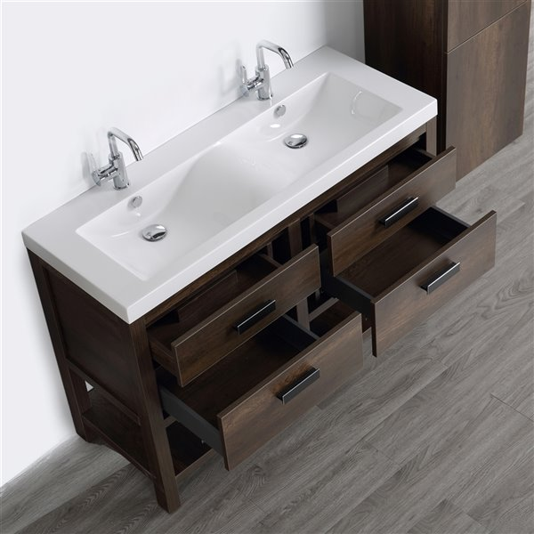 Meuble-lavabo simple brun autoportant par Streamline de 48 po avec comptoir blanc lustré et 1 lingerie