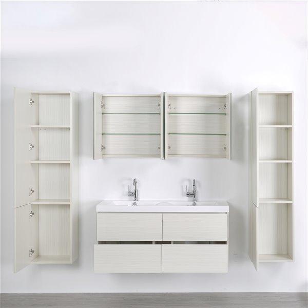 Meuble-lavabo mural simple gris cendré par Streamline de 48 po avec comptoir blanc lustré, 2 miroirs et 2 lingeries