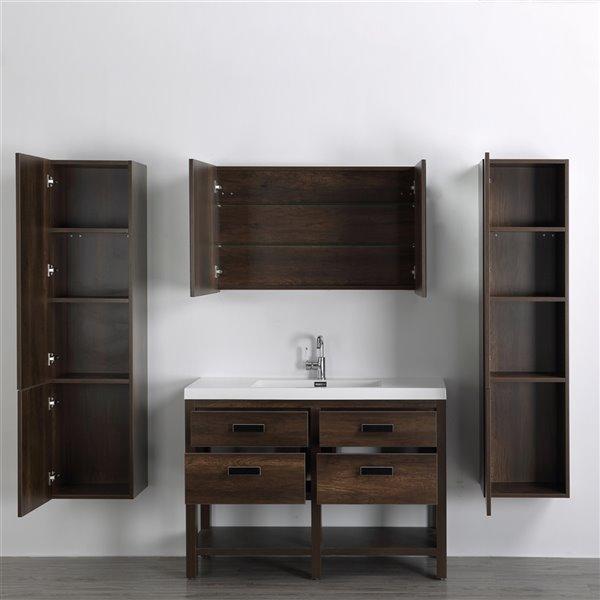 Meuble-lavabo simple brun autoportant par Streamline de 48 po avec comptoir blanc lustré, miroir et 2 lingeries