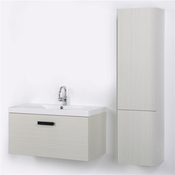Meuble-lavabo mural simple gris cendré par Streamline de 40 po avec comptoir blanc et 1 lingerie murale